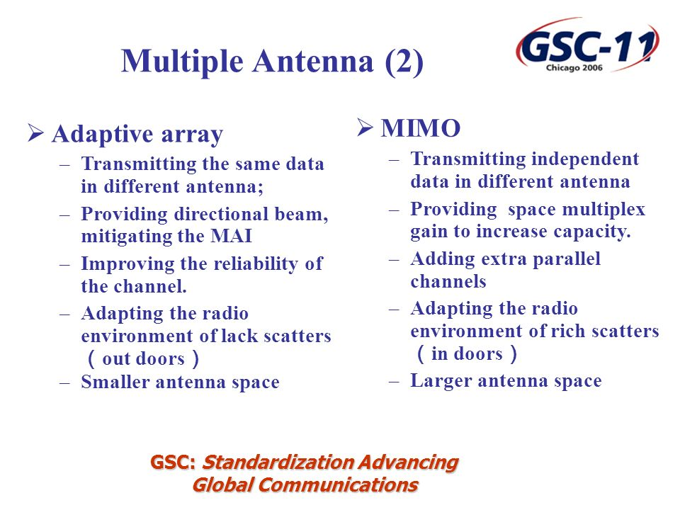 GSC: Standardization Advancing Global Communications Adaptive array –Transmitting the same data in different antenna; –Providing directional beam, mitigating the MAI –Improving the reliability of the channel.