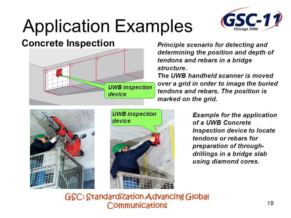 GSC: Standardization Advancing Global Communications 19 Application Examples Concrete Inspection UWB inspection device Principle scenario for detectin