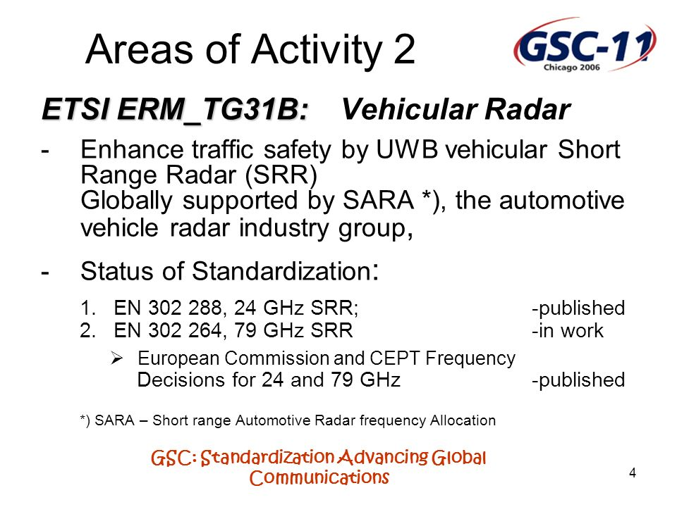 GSC: Standardization Advancing Global Communications 4 Areas of Activity 2 ETSI ERM_TG31B: ETSI ERM_TG31B: Vehicular Radar -Enhance traffic safety by