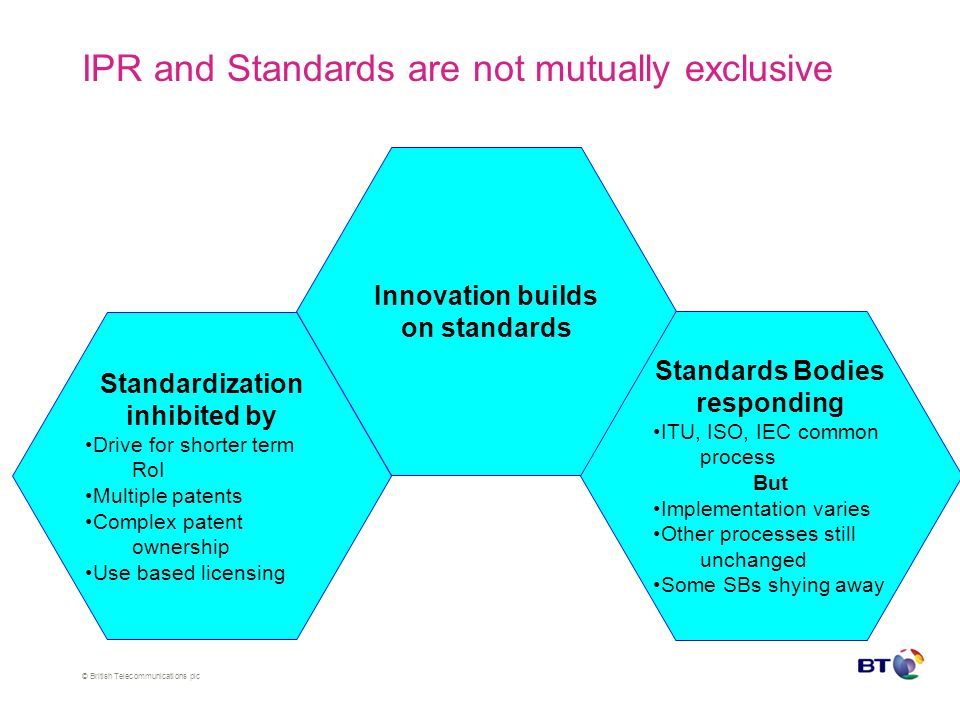 © British Telecommunications plc IPR and Standards are not mutually exclusive Innovation builds on standards Standardization inhibited by Drive for shorter term RoI Multiple patents Complex patent ownership Use based licensing Standards Bodies responding ITU, ISO, IEC common process But Implementation varies Other processes still unchanged Some SBs shying away
