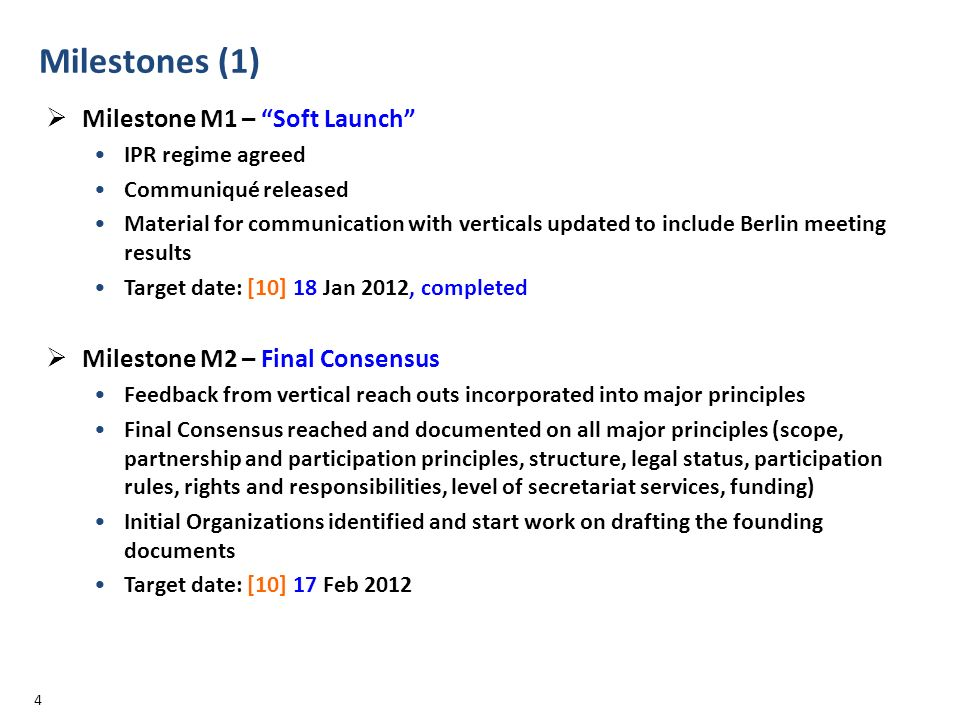 Milestones (1) Milestone M1 – Soft Launch IPR regime agreed Communiqué released Material for communication with verticals updated to include Berlin me