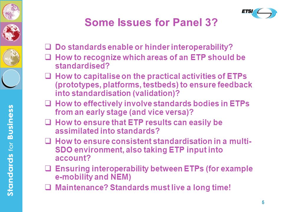 5 Some Issues for Panel 3. Do standards enable or hinder interoperability.