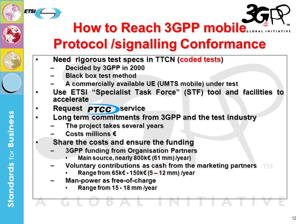 12 How to Reach 3GPP mobile Protocol /signalling Conformance Need rigorous test specs in TTCN (coded tests)Need rigorous test specs in TTCN (coded tests) –Decided by 3GPP in 2000 –Black box test method –A commercially available UE (UMTS mobile) under test Use ETSI Specialist Task Force (STF) tool and facilities to accelerateUse ETSI Specialist Task Force (STF) tool and facilities to accelerate Request serviceRequest service Long term commitments from 3GPP and the test industryLong term commitments from 3GPP and the test industry –The project takes several years –Costs millions –Costs millions Share the costs and ensure the fundingShare the costs and ensure the funding –3GPP funding from Organisation Partners Main source, nearly 800k (61 mm) /year)Main source, nearly 800k (61 mm) /year) –Voluntary contributions as cash from the marketing partners Range from 65k - 150k (5 – 12 mm) /yearRange from 65k - 150k (5 – 12 mm) /year –Man-power as free-of-charge Range from 15 - 18 mm /yearRange from 15 - 18 mm /year