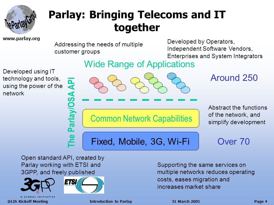 Page 4 Kickoff Meeting Introduction to Parlay 31 March 2005 Parlay: Bringing Telecoms and IT together The Parlay/OSA API Wide Range of Applications Common Network Capabilities Fixed, Mobile, 3G, Wi-Fi Developed by Operators, Independent Software Vendors, Enterprises and System Integrators Supporting the same services on multiple networks reduces operating costs, eases migration and increases market share Open standard API, created by Parlay working with ETSI and 3GPP, and freely published Abstract the functions of the network, and simplify development Developed using IT technology and tools, using the power of the network Addressing the needs of multiple customer groups Around 250 Over 70