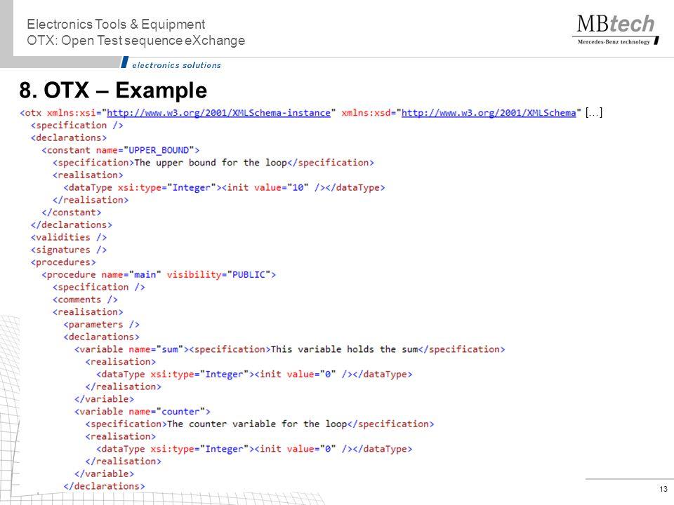 13 8. OTX – Example Electronics Tools & Equipment OTX: Open Test sequence eXchange […]