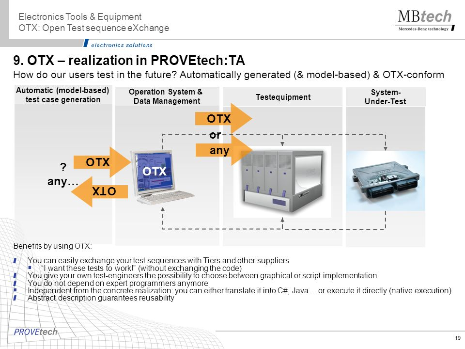 19 Operation System & Data Management Testequipment 9. OTX – realization in PROVEtech:TA How do our users test in the future? Automatically generated