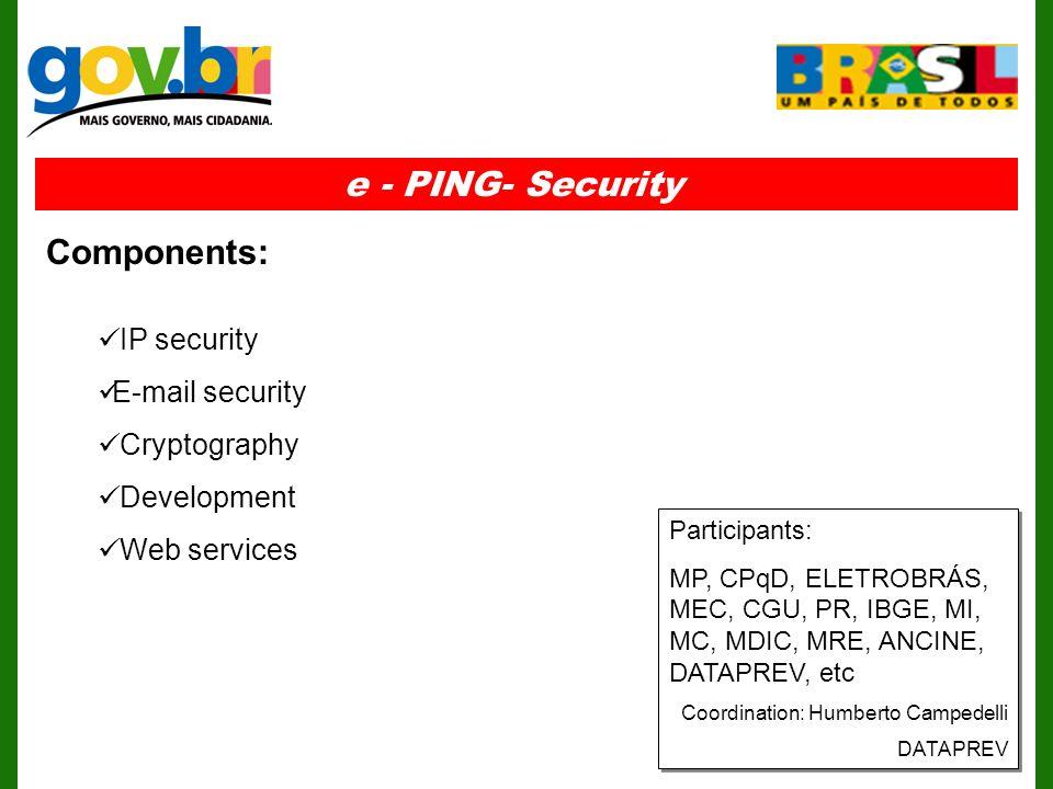IP security E-mail security Cryptography Development Web services e - PING- Security Components: Participants: MP, CPqD, ELETROBRÁS, MEC, CGU, PR, IBGE, MI, MC, MDIC, MRE, ANCINE, DATAPREV, etc Coordination: Humberto Campedelli DATAPREV Participants: MP, CPqD, ELETROBRÁS, MEC, CGU, PR, IBGE, MI, MC, MDIC, MRE, ANCINE, DATAPREV, etc Coordination: Humberto Campedelli DATAPREV