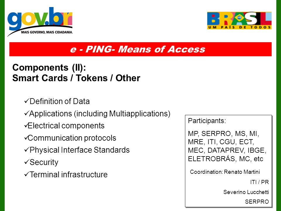 Definition of Data Applications (including Multiapplications) Electrical components Communication protocols Physical Interface Standards Security Terminal infrastructure e - PING- Means of Access Components (II): Smart Cards / Tokens / Other Participants: MP, SERPRO, MS, MI, MRE, ITI, CGU, ECT, MEC, DATAPREV, IBGE, ELETROBRÁS, MC, etc Coordination: Renato Martini ITI / PR Severino Lucchetti SERPRO Participants: MP, SERPRO, MS, MI, MRE, ITI, CGU, ECT, MEC, DATAPREV, IBGE, ELETROBRÁS, MC, etc Coordination: Renato Martini ITI / PR Severino Lucchetti SERPRO
