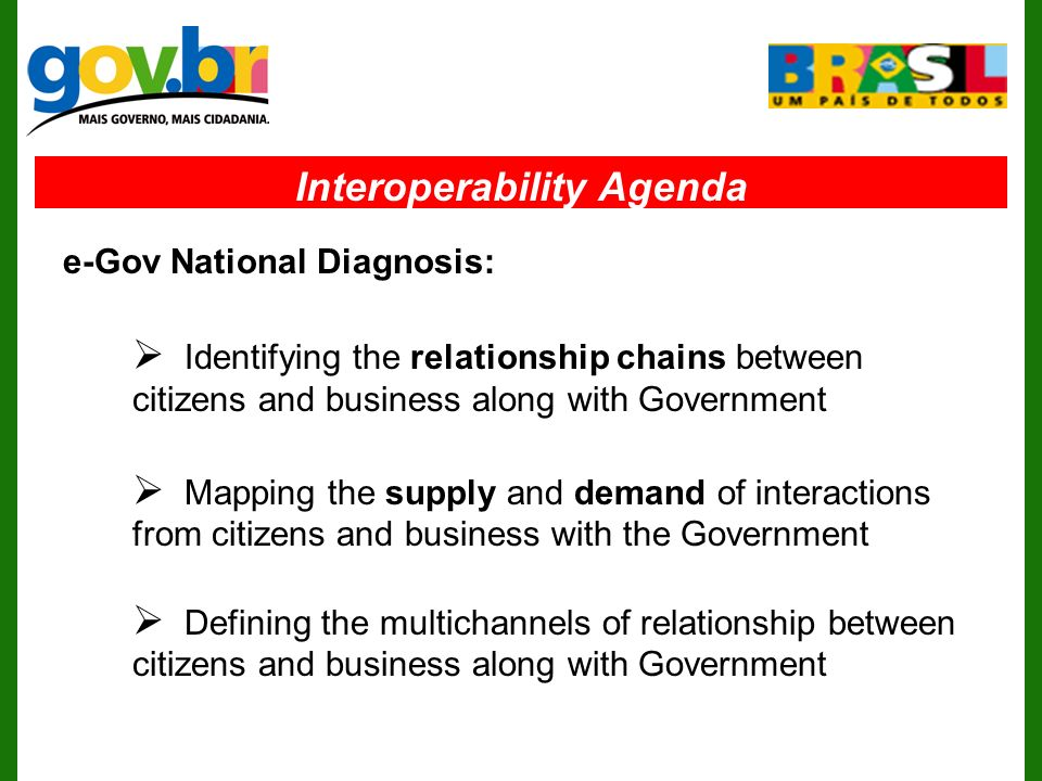 Interoperability Agenda Identifying the relationship chains between citizens and business along with Government Mapping the supply and demand of interactions from citizens and business with the Government Defining the multichannels of relationship between citizens and business along with Government e-Gov National Diagnosis: