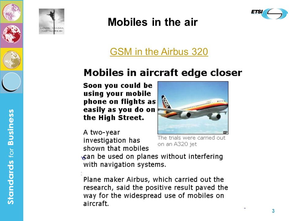 3 Mobiles in the air GSM in the Airbus 320