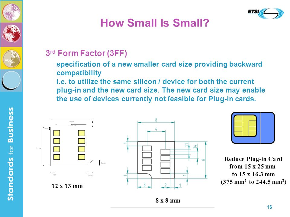 16 How Small Is Small? 3 rd Form Factor (3FF) specification of a new smaller card size providing backward compatibility i.e. to utilize the same silic