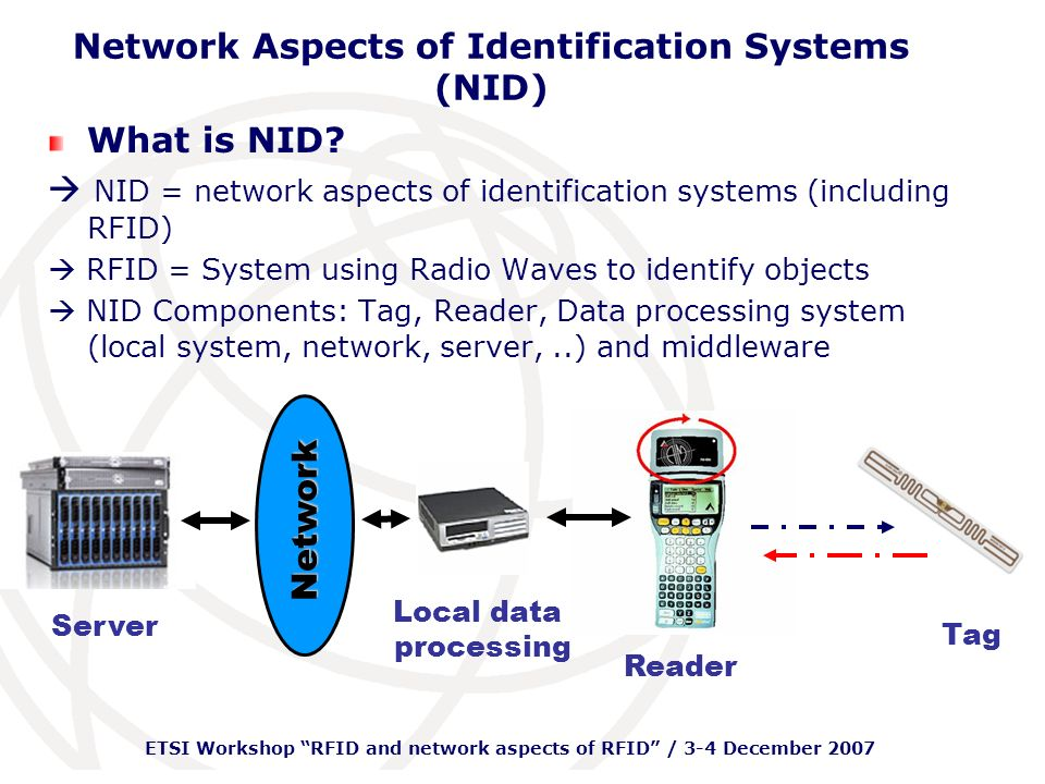 ETSI Workshop RFID and network aspects of RFID / 3-4 December 2007 Network Aspects of Identification Systems (NID) Basic RFID Types: Active Tag transmits radio signal Internally powered memory, radio & circuitry High Read Range (max 300 m) Passive Tag reflects radio signal from reader Reader powered Shorter Read Range (max 20 m)