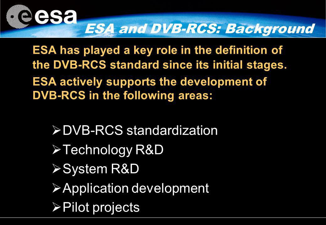 ESA and DVB-RCS: Background ESA has played a key role in the definition of the DVB-RCS standard since its initial stages. ESA actively supports the de