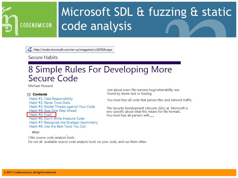 © 2011 Codenomicon. all rights reserved. Microsoft SDL & fuzzing & static code analysis