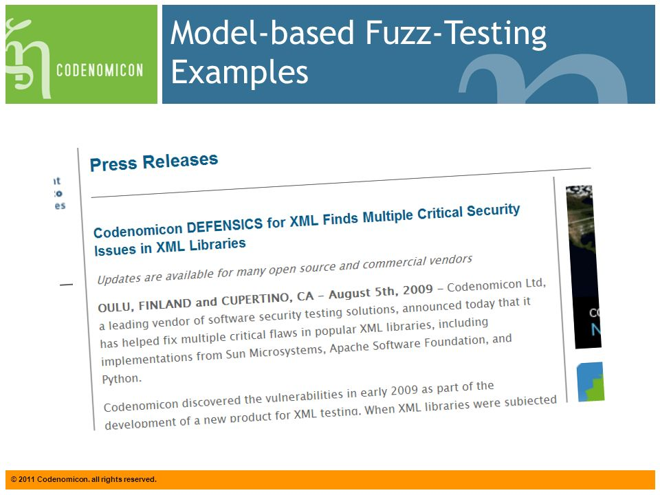 © 2011 Codenomicon. all rights reserved. Model-based Fuzz-Testing Examples