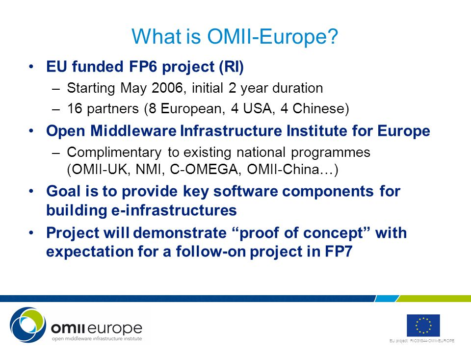 EU project: RIO31844-OMII-EUROPE What is OMII-Europe? EU funded FP6 project (RI) –Starting May 2006, initial 2 year duration –16 partners (8 European,
