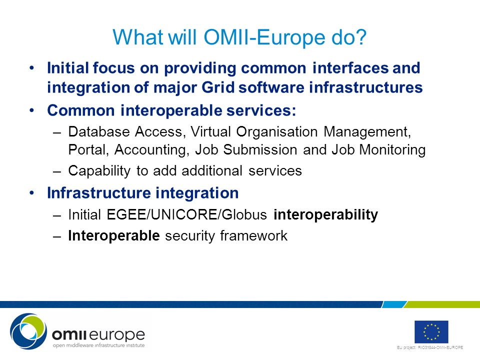 EU project: RIO31844-OMII-EUROPE What will OMII-Europe do? Initial focus on providing common interfaces and integration of major Grid software infrast