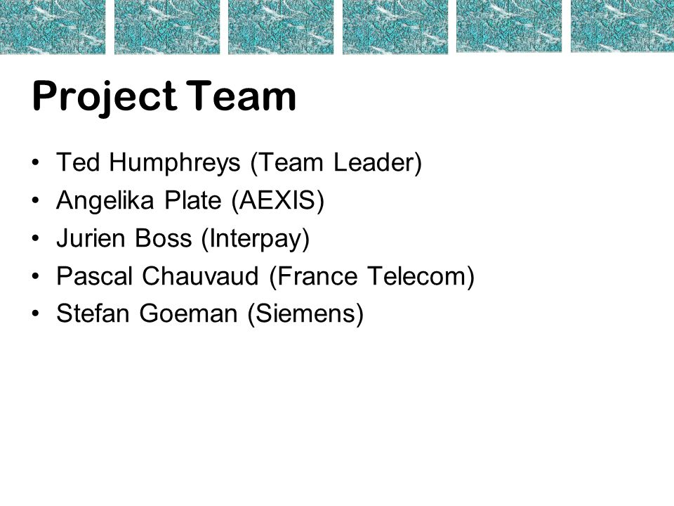 Project Team Ted Humphreys (Team Leader) Angelika Plate (AEXIS) Jurien Boss (Interpay) Pascal Chauvaud (France Telecom) Stefan Goeman (Siemens)