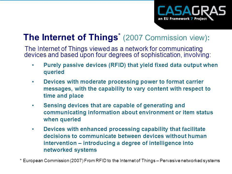 The Internet of Things * (2007 Commission view): The Internet of Things viewed as a network for communicating devices and based upon four degrees of s