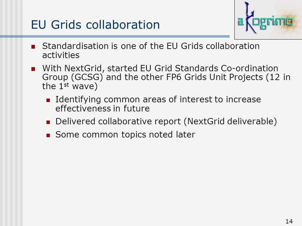 14 EU Grids collaboration Standardisation is one of the EU Grids collaboration activities With NextGrid, started EU Grid Standards Co-ordination Group