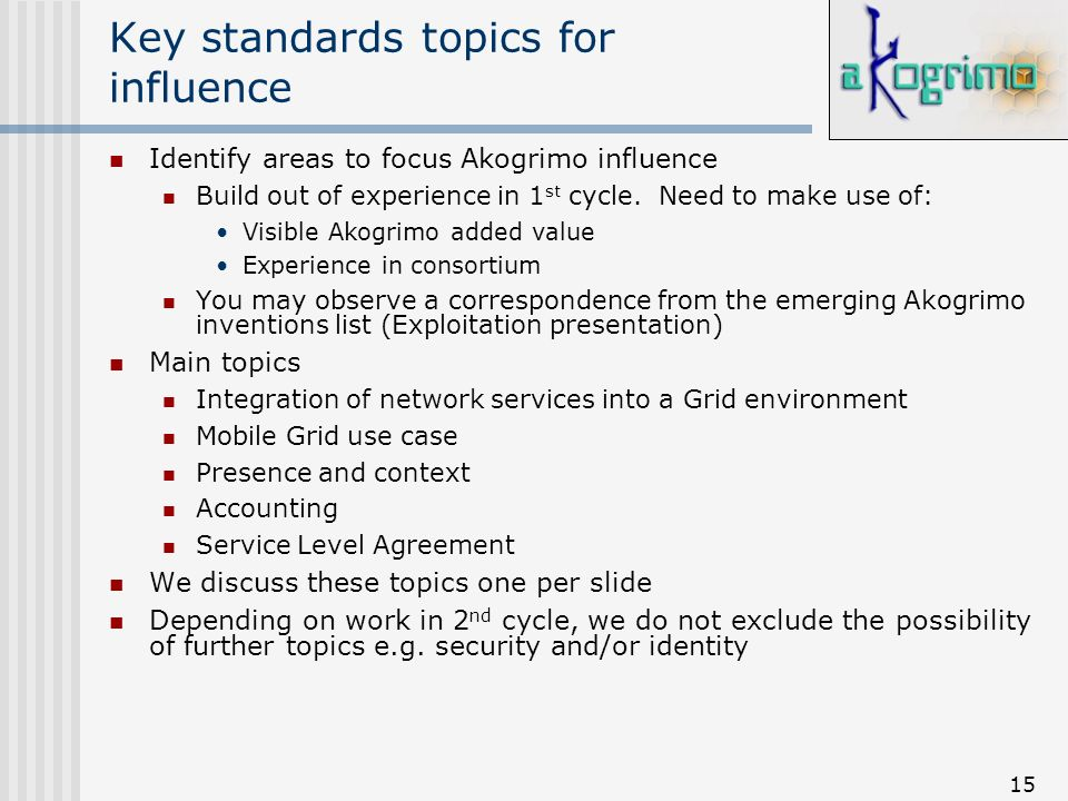 15 Key standards topics for influence Identify areas to focus Akogrimo influence Build out of experience in 1 st cycle. Need to make use of: Visible A