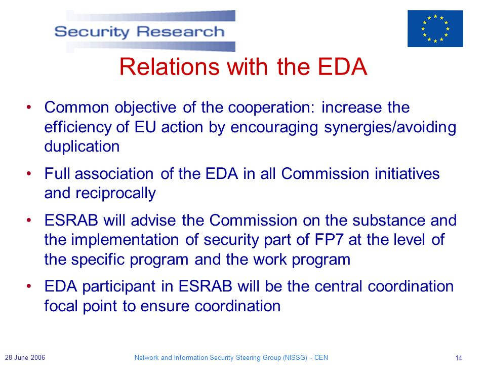 Network and Information Security Steering Group (NISSG) - CEN June 2006 Relations with the EDA Common objective of the cooperation: increase the efficiency of EU action by encouraging synergies/avoiding duplication Full association of the EDA in all Commission initiatives and reciprocally ESRAB will advise the Commission on the substance and the implementation of security part of FP7 at the level of the specific program and the work program EDA participant in ESRAB will be the central coordination focal point to ensure coordination