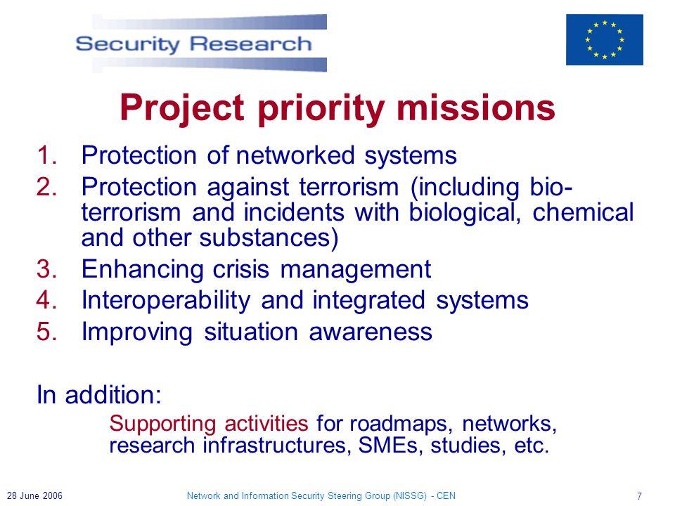 Network and Information Security Steering Group (NISSG) - CEN 18 28 June 2006 More Information on EU Security Research website http://ec.europa.eu/enterprise/security http://cordis.europa.eu/security Help Desk PASR entr-pasr@ec.europa.eu