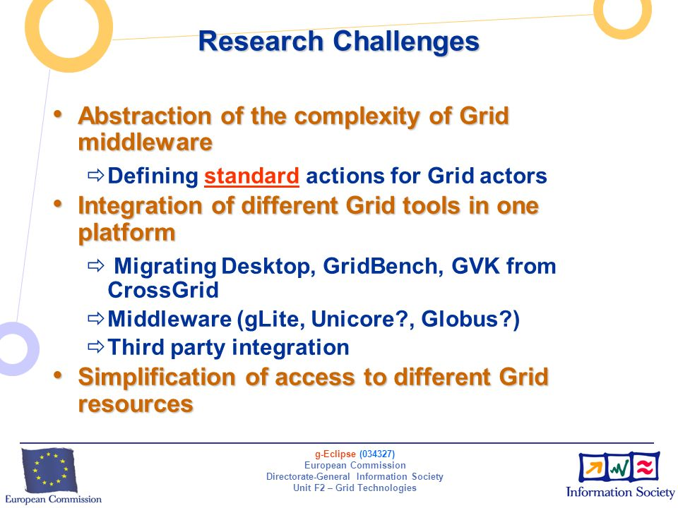 g-Eclipse (034327) European Commission Directorate-General Information Society Unit F2 – Grid Technologies Research Challenges Abstraction of the comp