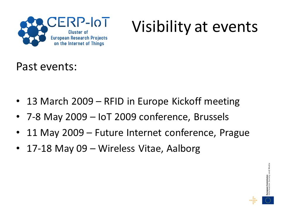 Visibility at events Past events: 13 March 2009 – RFID in Europe Kickoff meeting 7-8 May 2009 – IoT 2009 conference, Brussels 11 May 2009 – Future Int