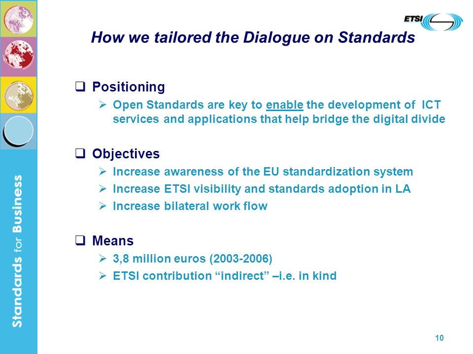 10 How we tailored the Dialogue on Standards Positioning Open Standards are key to enable the development of ICT services and applications that help bridge the digital divide Objectives Increase awareness of the EU standardization system Increase ETSI visibility and standards adoption in LA Increase bilateral work flow Means 3,8 million euros (2003-2006) ETSI contribution indirect –i.e.