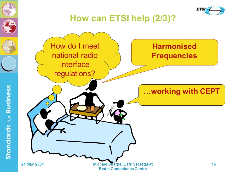 24 May 2004Michael Sharpe, ETSI Secretariat Radio Competence Centre 16 How can ETSI help (2/3).