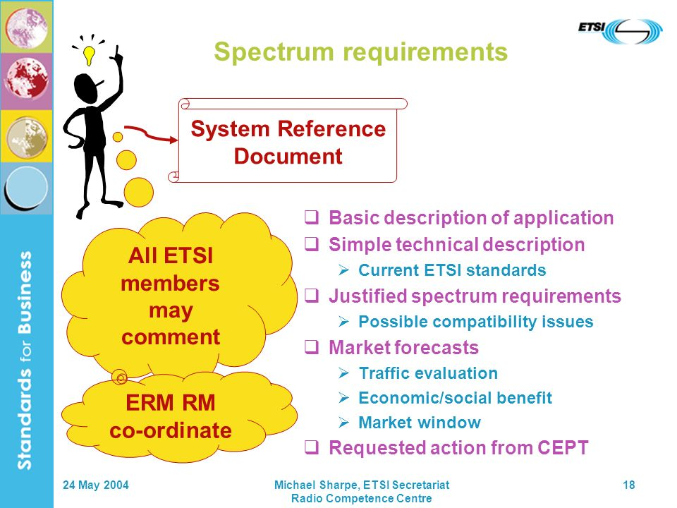 24 May 2004Michael Sharpe, ETSI Secretariat Radio Competence Centre 18 Basic description of application Simple technical description Current ETSI standards Justified spectrum requirements Possible compatibility issues Market forecasts Traffic evaluation Economic/social benefit Market window Requested action from CEPT System Reference Document Spectrum requirements All ETSI members may comment ERM RM co-ordinate