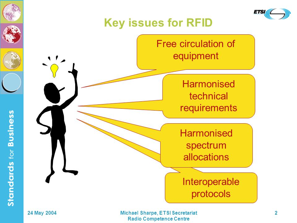 24 May 2004Michael Sharpe, ETSI Secretariat Radio Competence Centre 2 Key issues for RFID Free circulation of equipment Harmonised technical requirements Interoperable protocols Harmonised spectrum allocations