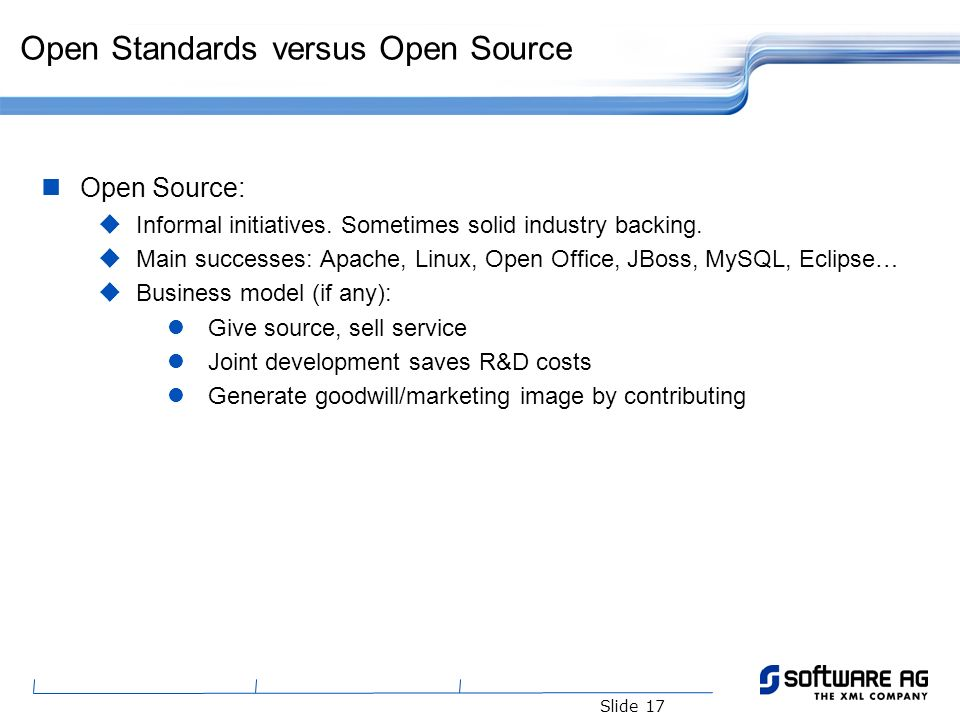 Slide 17 Open Standards versus Open Source Open Source: Informal initiatives. Sometimes solid industry backing. Main successes: Apache, Linux, Open Of
