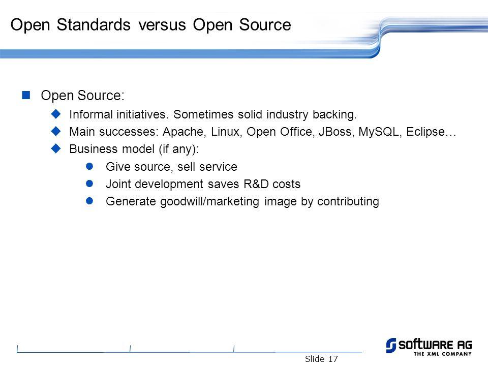 Slide 17 Open Standards versus Open Source Open Source: Informal initiatives.