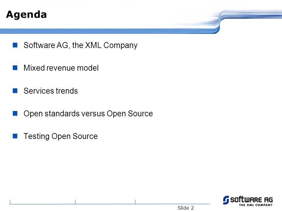 Slide 3 Agenda Software AG, the XML Company Mixed revenue model Services trends Open Standards versus Open Source Testing Open Source