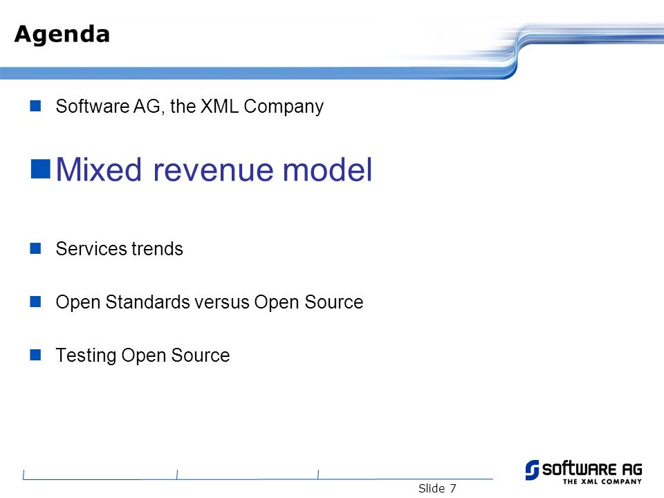 Slide 18 Benefits from Open Source Overall Benefit to Industry Open Source complements Open Standards Network effect from rapid dissemination of new technology Build consensus on best practices Commodity infrastructure allows companies to focus on their areas of real expertise and differentiation Benefits to Software AG (Services) Build flexible & more competitive solutions Customers demand Lower cost of products -> increase sales of services Benefits to Software AG (R&D) Benchmark our products vis à vis Open Source products Contribute -> get support from developers