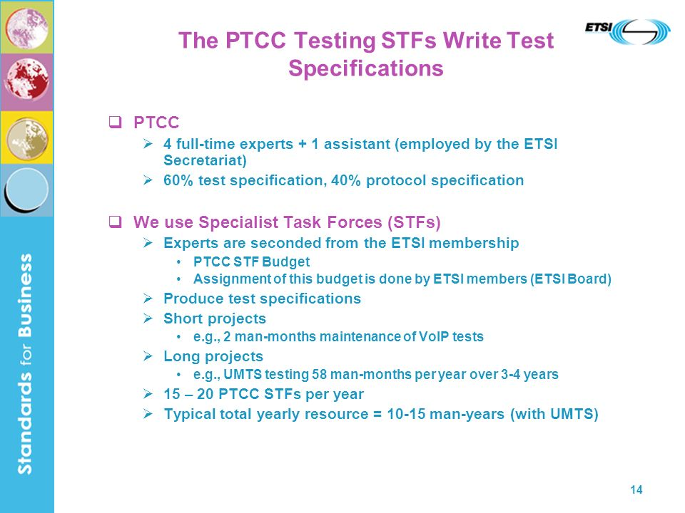 14 The PTCC Testing STFs Write Test Specifications PTCC 4 full-time experts + 1 assistant (employed by the ETSI Secretariat) 60% test specification, 40% protocol specification We use Specialist Task Forces (STFs) Experts are seconded from the ETSI membership PTCC STF Budget Assignment of this budget is done by ETSI members (ETSI Board) Produce test specifications Short projects e.g., 2 man-months maintenance of VoIP tests Long projects e.g., UMTS testing 58 man-months per year over 3-4 years 15 – 20 PTCC STFs per year Typical total yearly resource = man-years (with UMTS)