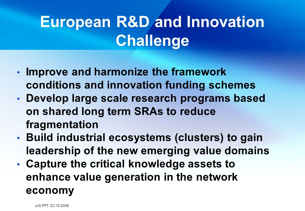 JoS.PPT /23.10.2006 European R&D cooperation architecture Eureka EU R&D Framework Programme EMBL Cern ESA Cost ERA, OMC National Programmes and Institutions