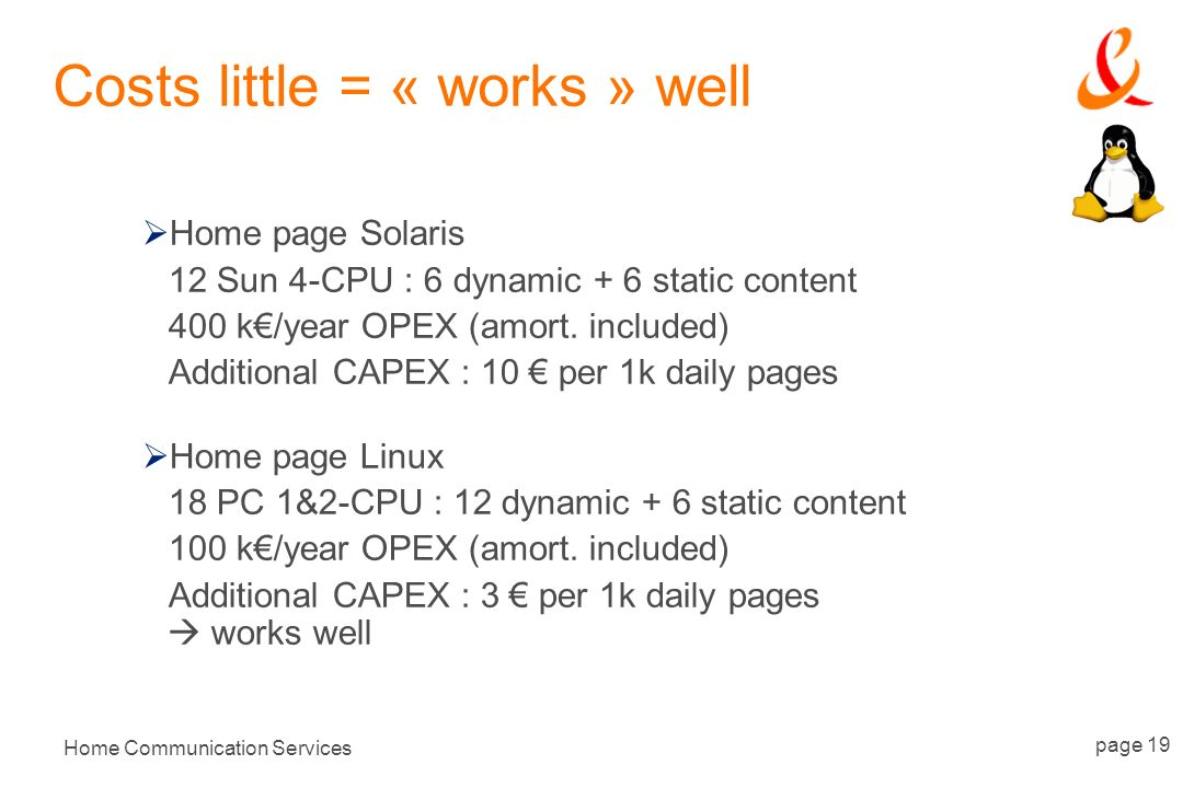 Home Communication Services page 19 Costs little = « works » well Home page Solaris 12 Sun 4-CPU : 6 dynamic + 6 static content 400 k/year OPEX (amort.