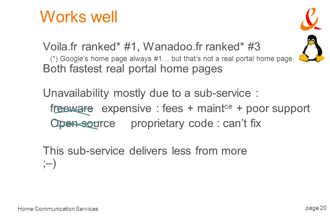 Home Communication Services page 20 Works well Voila.fr ranked* #1, Wanadoo.fr ranked* #3 (*) Googles home page always #1… but thats not a real portal