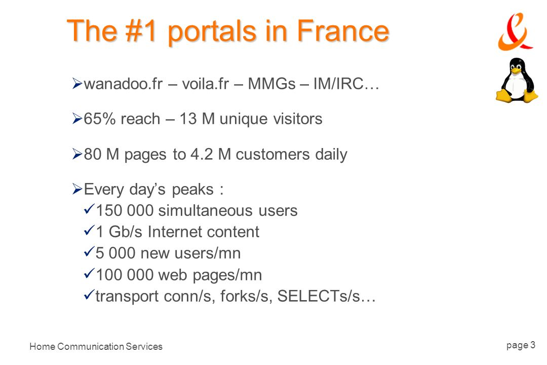 Home Communication Services page 3 The #1 portals in France wanadoo.fr – voila.fr – MMGs – IM/IRC… 65% reach – 13 M unique visitors 80 M pages to 4.2