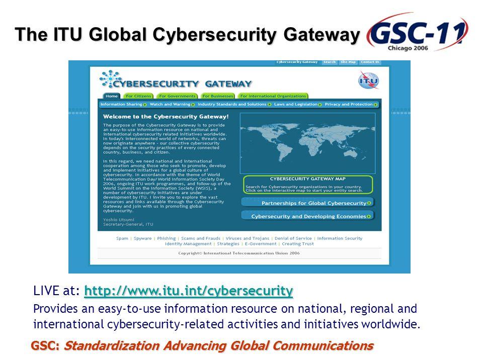 GSC: Standardization Advancing Global Communications The ITU Global Cybersecurity Gateway http://www.itu.int/cybersecurity http://www.itu.int/cybersec