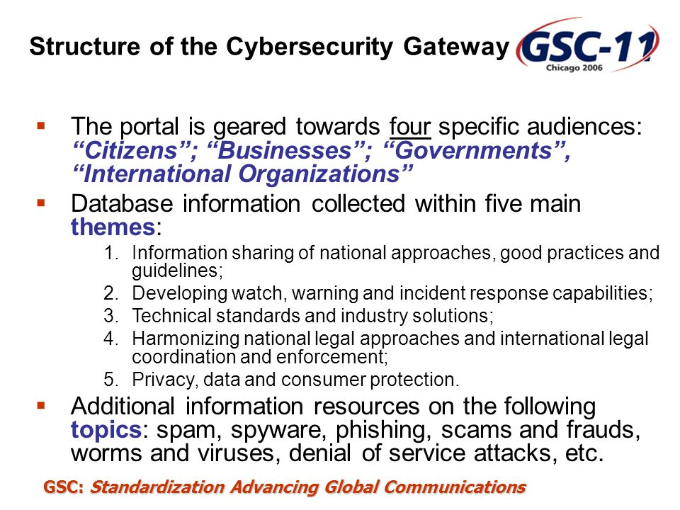 GSC: Standardization Advancing Global Communications Structure of the Cybersecurity Gateway The portal is geared towards four specific audiences: Citi
