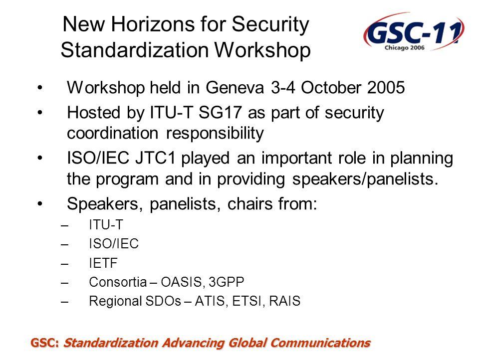 GSC: Standardization Advancing Global Communications New Horizons for Security Standardization Workshop Workshop held in Geneva 3-4 October 2005 Hoste