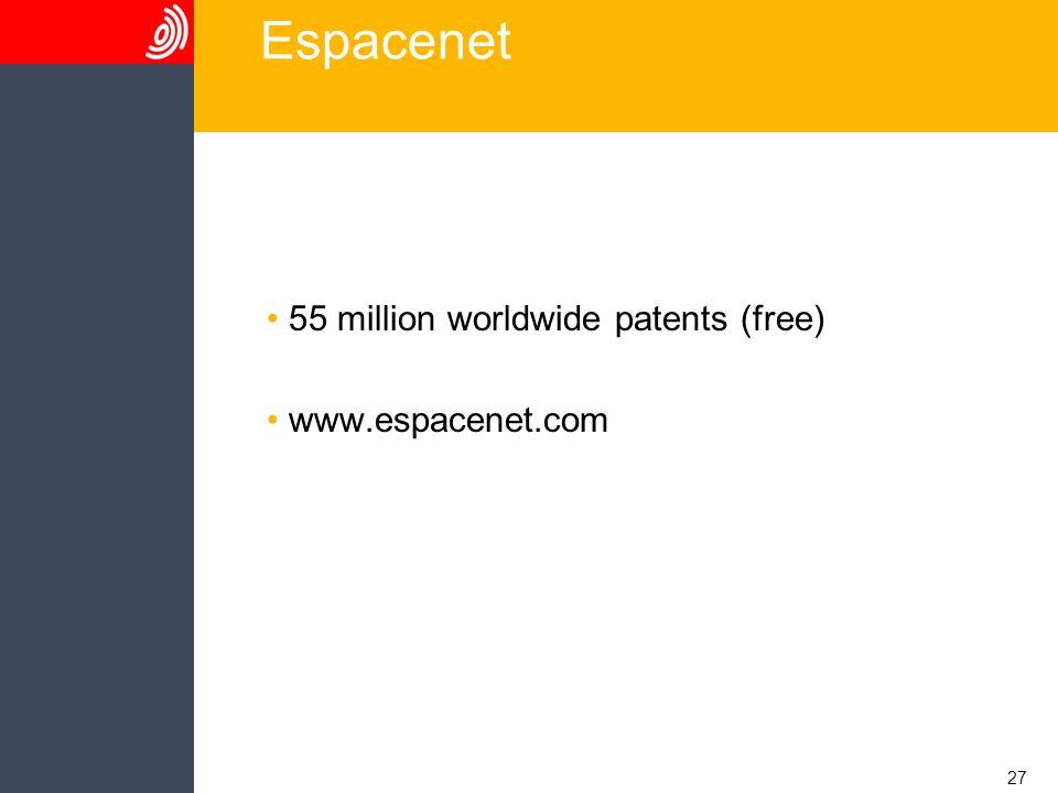 27 Espacenet 55 million worldwide patents (free) www.espacenet.com