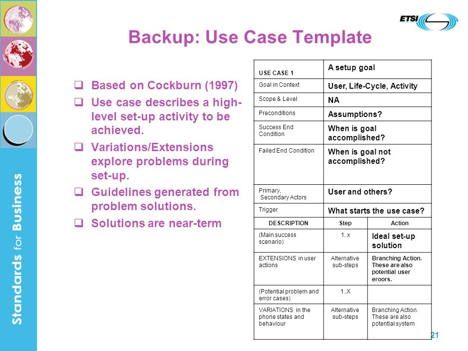 21 Backup: Use Case Template Based on Cockburn (1997) Use case describes a high- level set-up activity to be achieved.