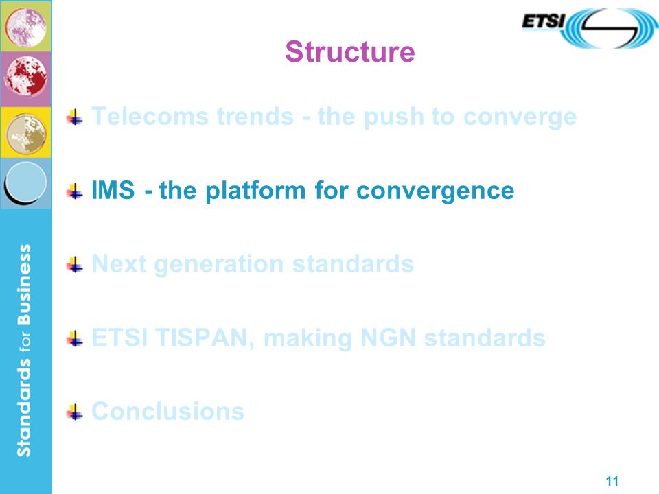 11 Structure Telecoms trends - the push to converge IMS - the platform for convergence Next generation standards ETSI TISPAN, making NGN standards Con