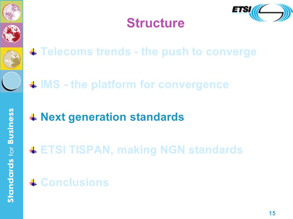 15 Structure Telecoms trends - the push to converge IMS - the platform for convergence Next generation standards ETSI TISPAN, making NGN standards Conclusions