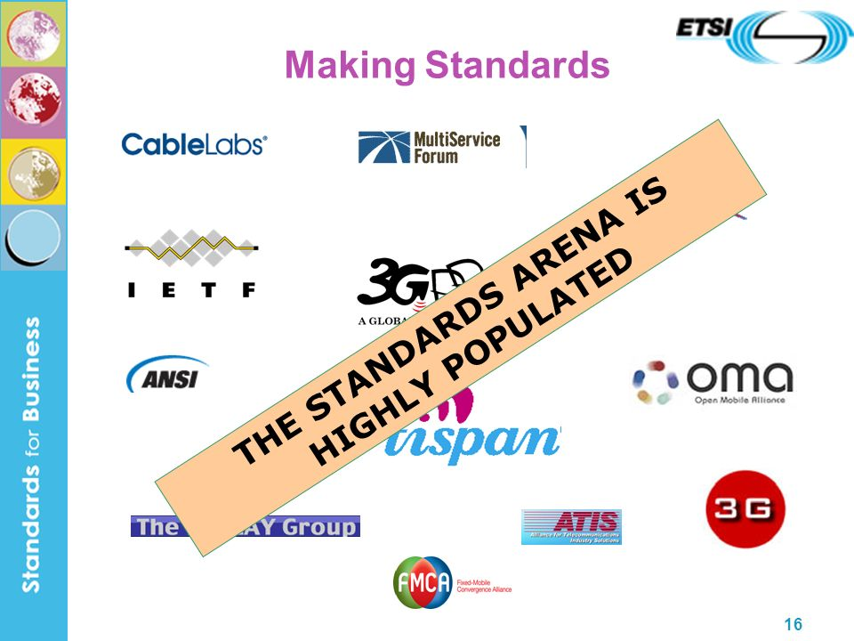 16 Making Standards THE STANDARDS ARENA IS HIGHLY POPULATED